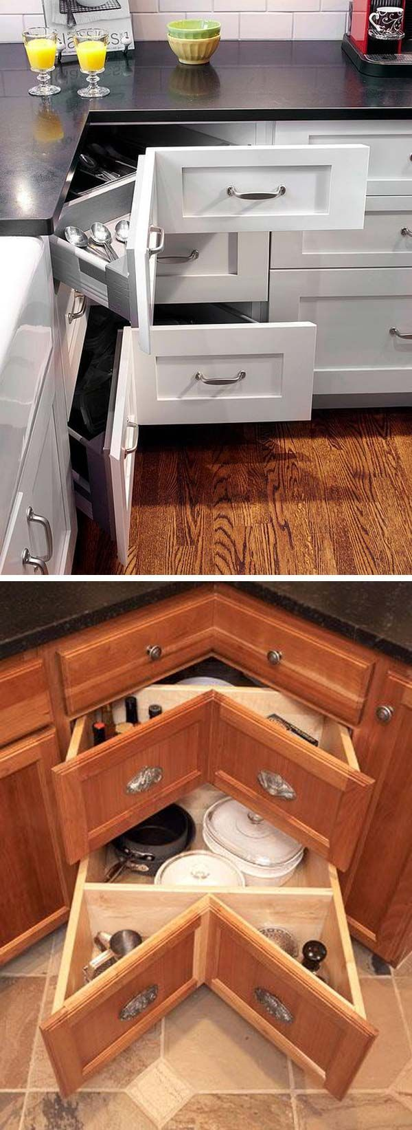 A 45-degree-angled stack of drawers work well in awkward kitchen spaces like corner cabinets