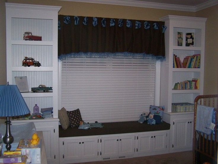 Window seat and bookshelves for nursery