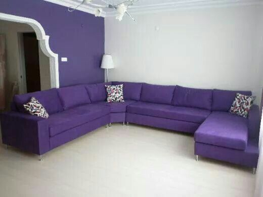 huge purple secional - Purple Living Room