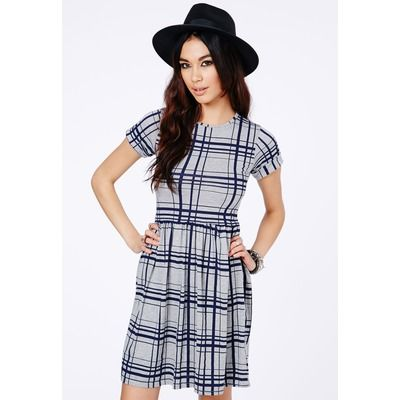 Missguided Grey Checked Skater Dress