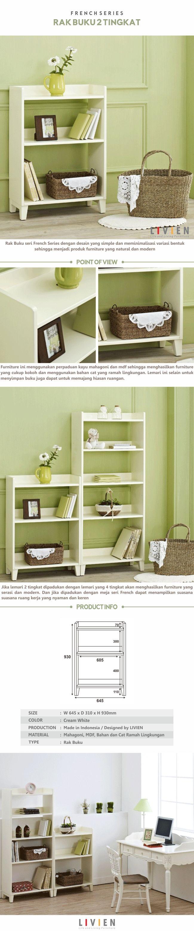 Rak Buku French Cozy (2 Tingkat) #homedecor #livingroom #homeideas #interiorideas #furniture