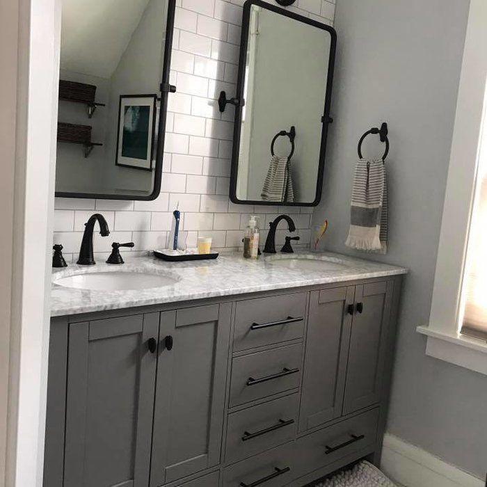 Beachcrest Home Newtown 60 Double Bathroom Vanity Reviews Wayfair Remodeling Double Vanity Bathroom Grey Bathroom Vanity Bathroom Interior