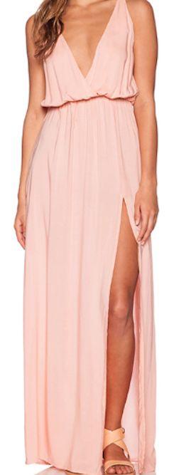 Light pink slit long dress