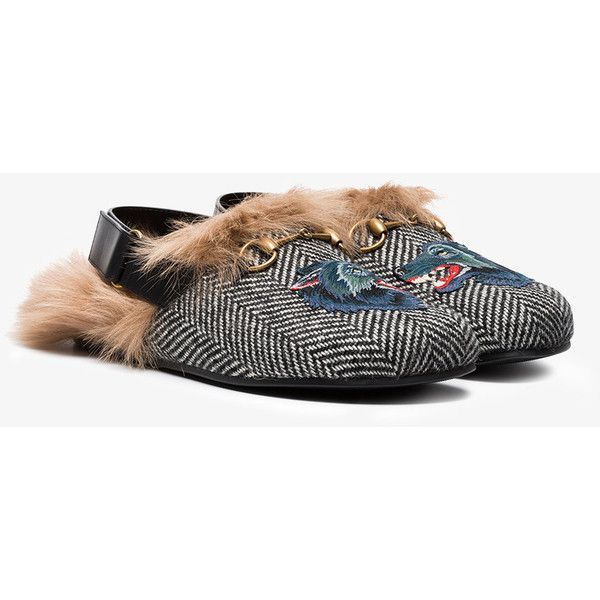 f42d3512d6b05 Gucci Fur Herringbone Slippers With Wolf Head ($965) ❤ liked on Polyvore  featuring men's fashion, men's shoes, men's slippers, gucci mens shoes, mens  fur ...