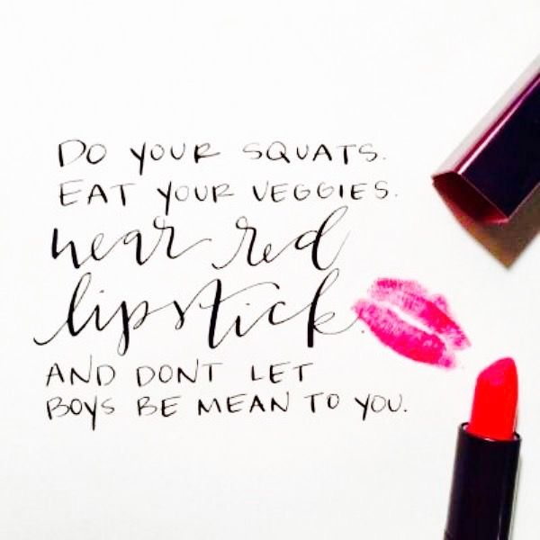 Red lipstick quote.