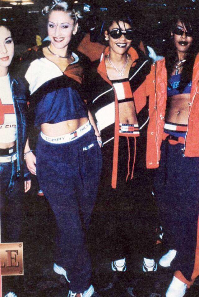 Gwen Stefani + Aaliyah wearing Tommy Hilfiger