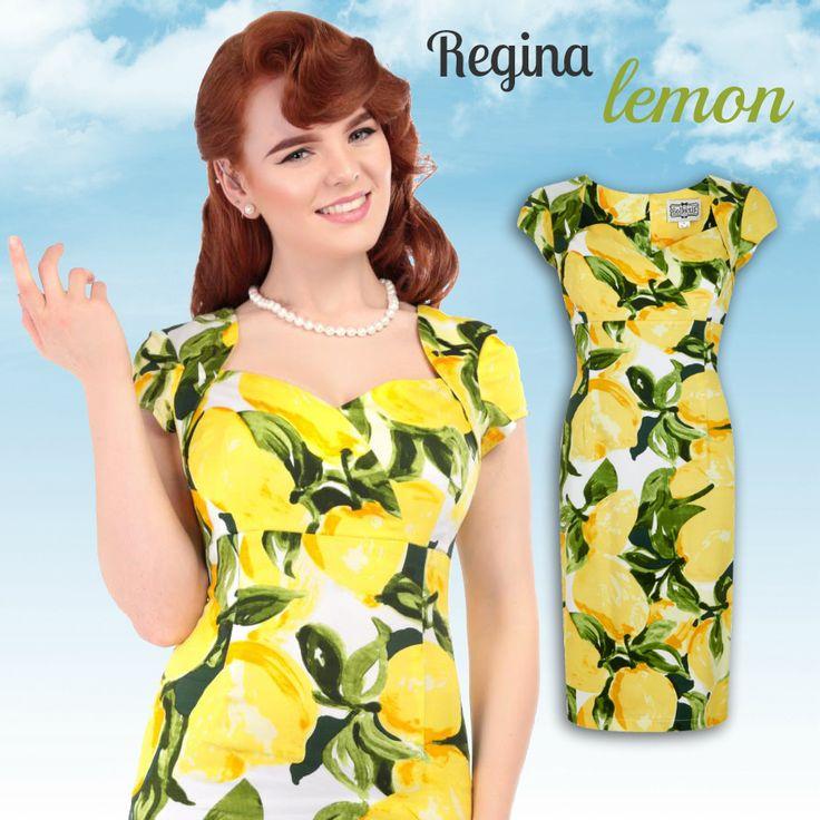 Robe crayon Regina Lemon imprimée citrons jaunes et feuillage vert / Regina Lemons pencil dress with yellow lemon print and green leaves. ♥ missretrochic.com boutique web glamour et rétro
