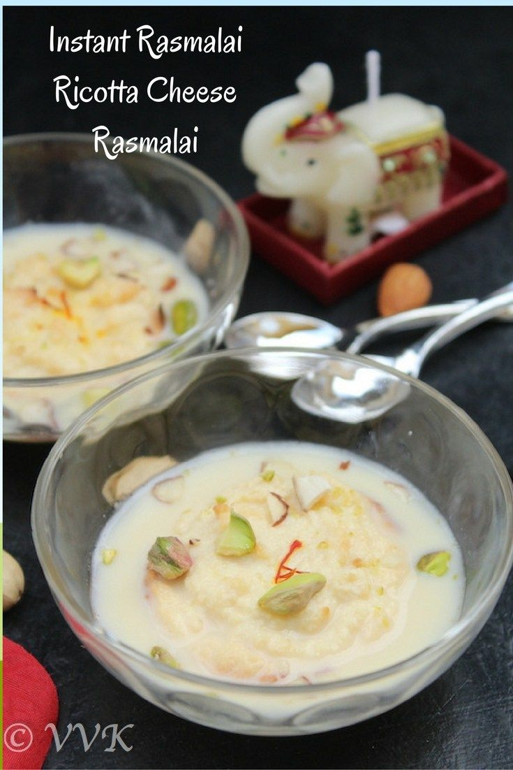A Traditional recipe with a modern approach, instant semi homemade rasmalai where the malai is prepared with Ricotta cheese and the ras is prepared with evaporated milk and condensed milk.