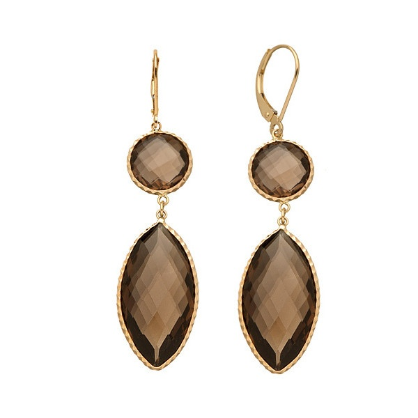 Zoe B. Faceted Smoky Topaz Briolette Double-Drop Earrings ($370) ❤ liked on Polyvore