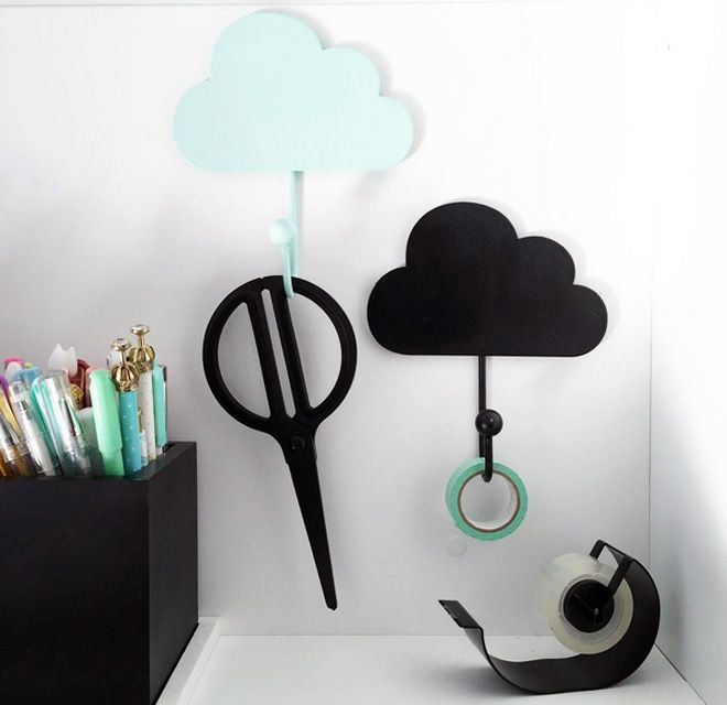 Kmart Cloud Hooks are really handy for stationery and storage!
