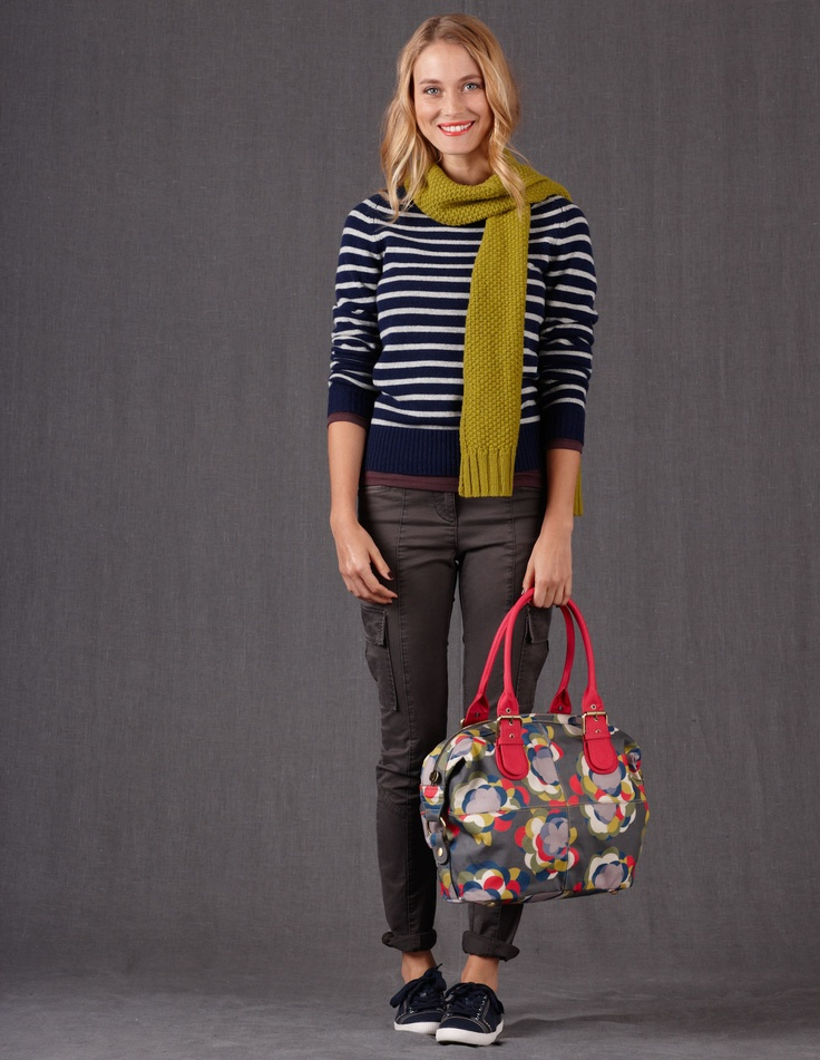 love the bag and skinny cargos, colorful scarf & stripes. Don't love a crew neck though.