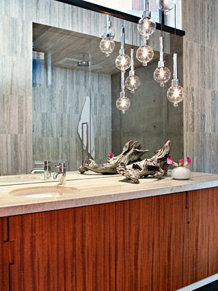 bocci pendant lighting (?) walnut cabinetry designed by Jamie Bush & Co.