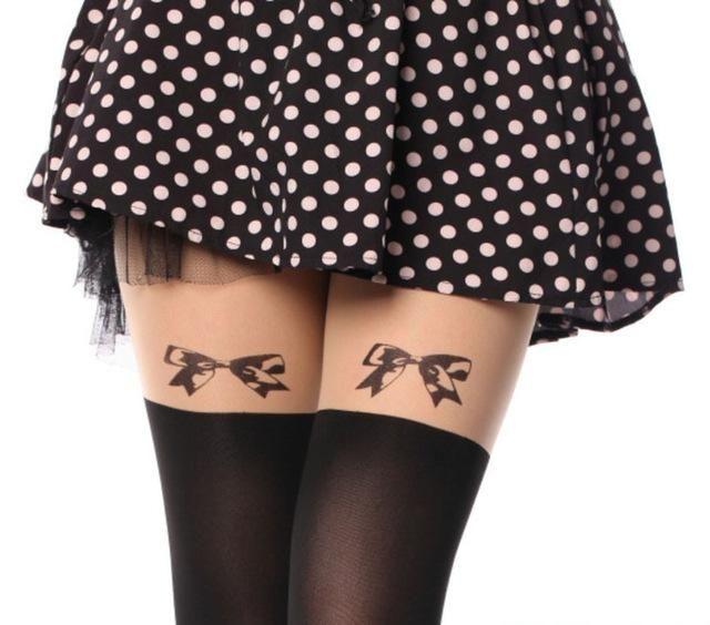 Women Spring Summer Tights Black Pantyhose Eiffel Tower Tail Tattoo Tights Thin