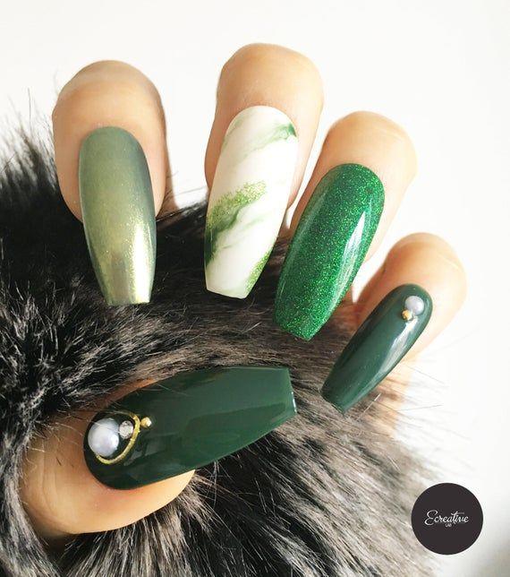Veronica Dark Green Marble Press On Nails Coffin Nails Fake Nails False Nails Glue On Nails Made To Order Press On Nails Glue On Nails Fake Nails