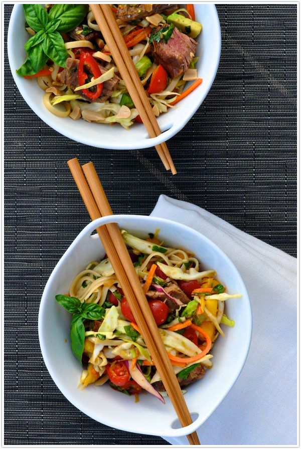 Thai steak and Noodle Salad, combination of flavors, peanuts, mint, lime, fish sauce, chiles