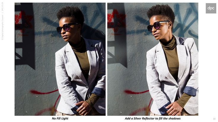 Sometimes you really don't need an elaborate Flash Setup if you have a reflector. On Saturday afternoon I presented a Basic Portrait Class in Jozi. Lindiwe, one of our students, was kind enough to stand in for a quick demo on how to use a reflector while we waited for our model. The only difference between the two images below is an added silver reflector to fill the shadow areas.