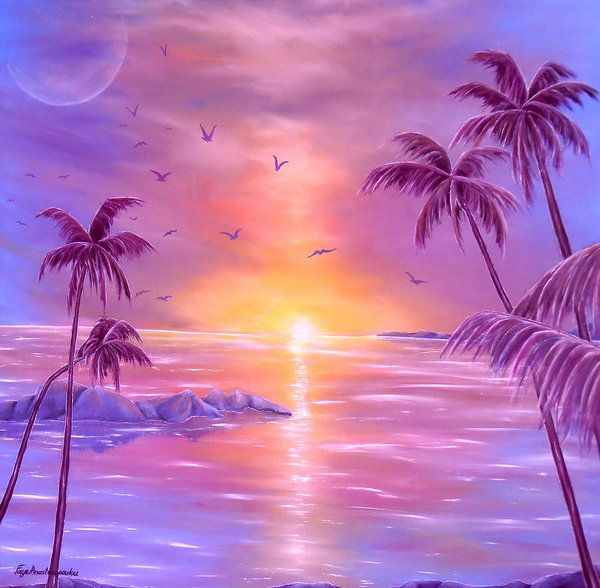 Poster,  purple,fantasy,coastal,scene,tropical,sunset,sunrise,seascape,ocean,water,island,palmtrees,impressive,bright,calm,summer,violet,mauve,lavender,gold,golden,multicolor,colorful,beautiful,image,fine,oil,painting,contemporary,scenic,modern,virtual,deviant,wall,art,awesome,cool,artistic,artwork,for,sale,home,office,decor,decoration,decorative,items,ideas
