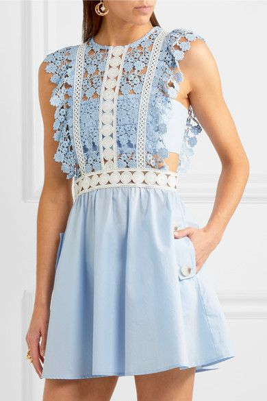 Pale-blue and white guipure lace, pale-blue poplin Concealed zip fastening along back Fabric1: 100% polyester; lining: 97% cotton, 3% elastane Dry clean