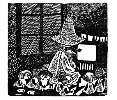 Tove Jansson, Midsummer Madness, in which snufkin wrecks a park and adopts 24 orphaned children this is easily one of the cutest parts of the moomin books
