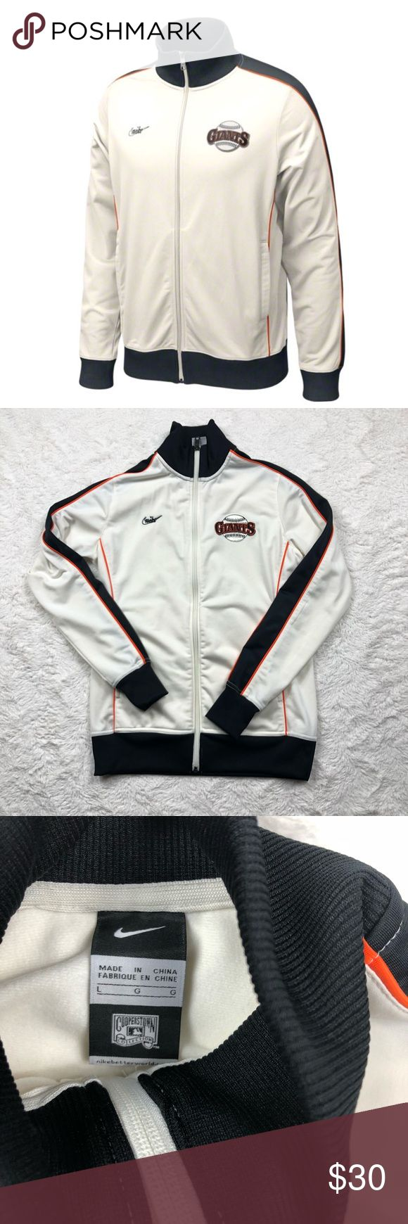 SF Giants Nike Cooperstown Retro Logo Track Jacket Condition: Very good. No stains, rips, or odors. Minimal signs of previously being worn. Please view listing pictures & additional questions are always welcomed. All items are honestly presented to the best of my knowledge, and are stored in a non-smoking environment. No returns Nike Jackets & Coats