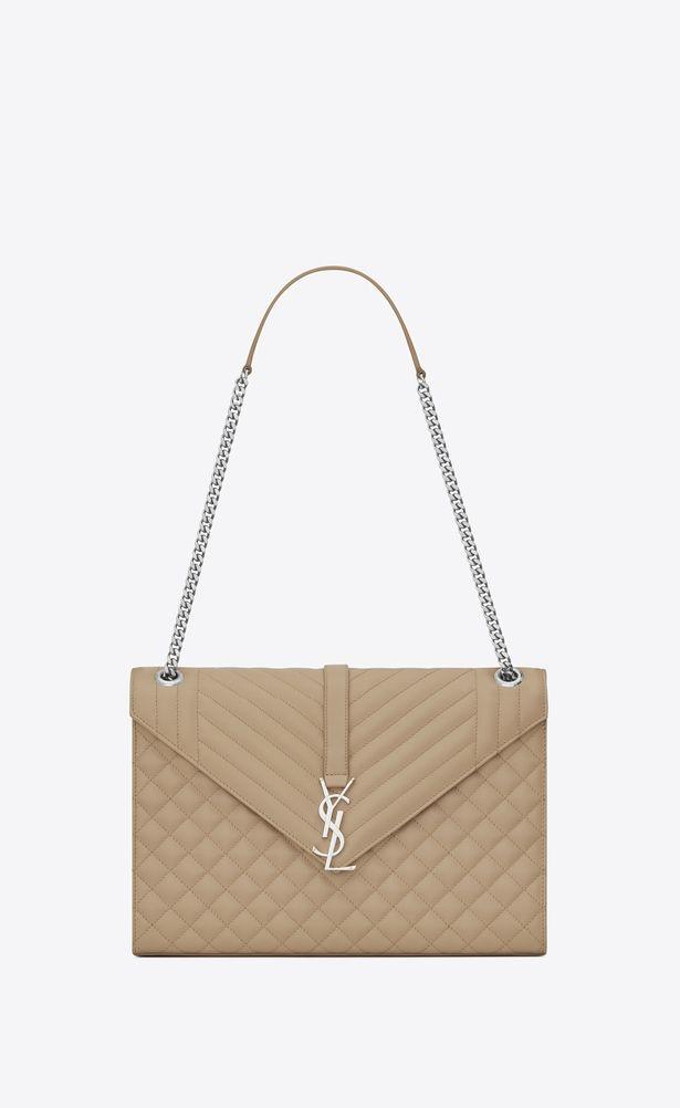 aeffd41055 SAINT LAURENT Monogram envelope Bag Woman large envelope chain bag in dark  beige textured mixed matelassé leather a V4