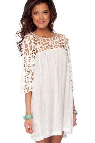 Crochet White Dress. Take a large t-shirt, cut off the sleeves/shoulders, then