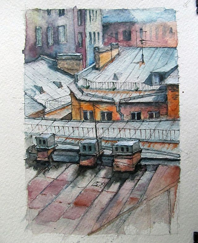 #saintpetersburg #roofs #drawyoucity #крышипитера #крышидомов #watercolor