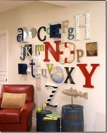 alphabet wall for kids play room (I like the use of the half-globe on the wall-L)