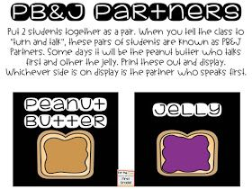 """Need any easy management tool for when you use """"turn and talk"""" in your classroom? PB&J partners are a great way for your students to know..."""