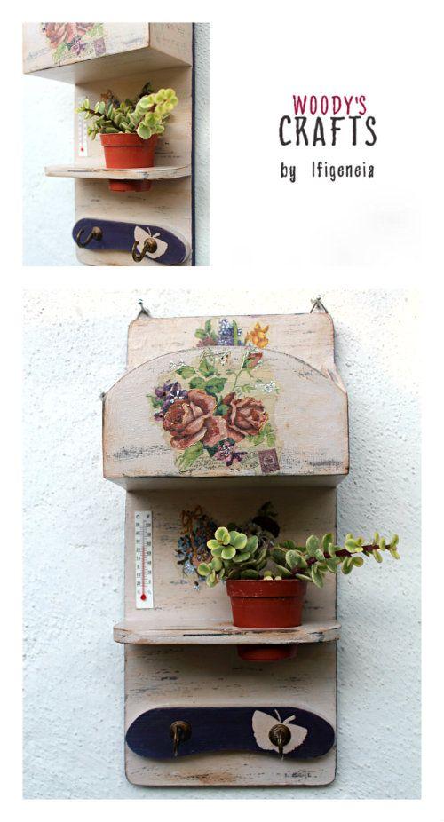 Ξύλινη διακοσμητική κλειδοθήκη-γραμματοθήκη με εφαρμοσμένες τις τεχνικές ζωγραφικής ντεκουπάζ και παλαίωσης   Κατασκευή:www.woodys.gr