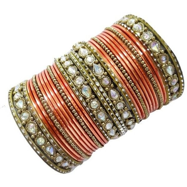 India Orange Bangle Set Golden Traditional Bollywood Wedding Costume... (£15) ❤ liked on Polyvore featuring jewelry, bracelets, accessories, metal jewelry, orange costume jewelry, metal bangles, orange bangles and golden bangles
