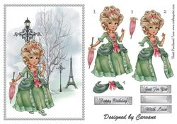 Madame Pompadour in Paris   A4 card making sheet with decoupage  on Craftsuprint - View Now!