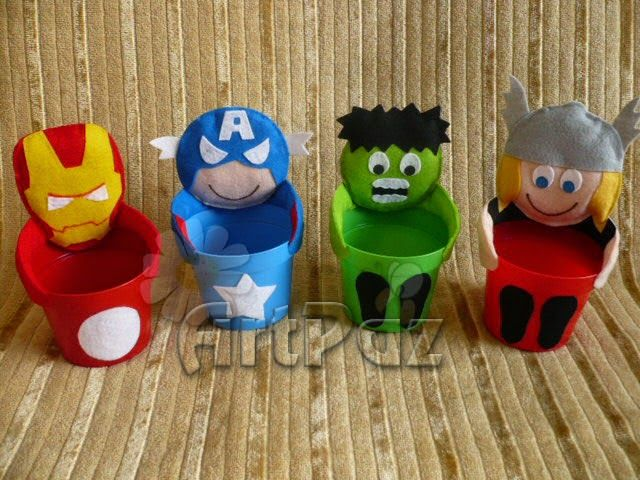 Mochila e centro de mesa Super Heróis - Vingadores - ArtPaz by Tania Paz