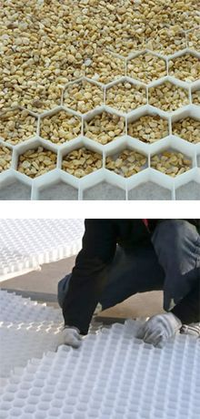 The hexagon cells that make up each COREgravel panel form a rigid honeycomb design that holds gravel in place and supports load distribution. The underside is a geotextile allowing water to drain easily and prevents weed growth. Interlocking system edges support assembly.