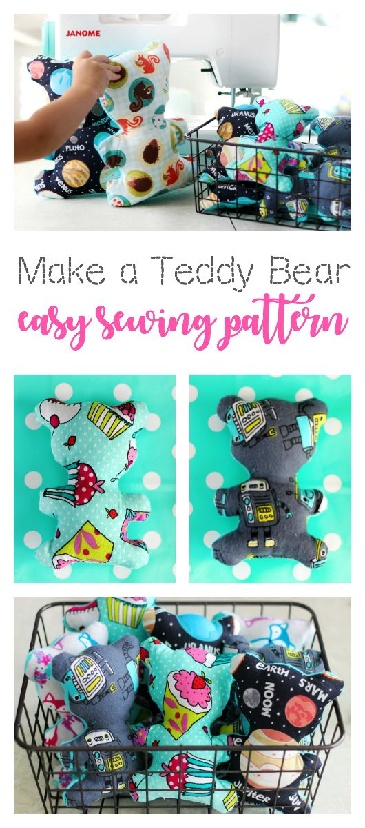 A quick and easy teddy bear pattern in two sizes! A great sewing project to make…