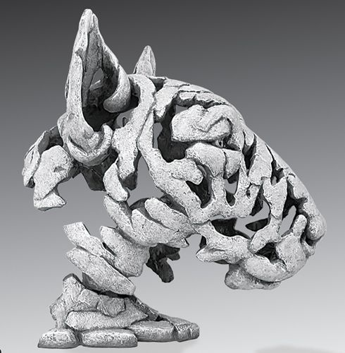 White Dog Sculpture - Bull Terrier Bust from Lazy Dog Gallery