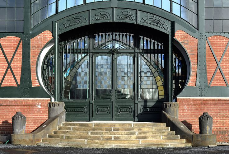 Entry door to the machine hall of the Zeche Zollern in Dortmund,  Germany (coalmine). An example of industrial jugendstil.