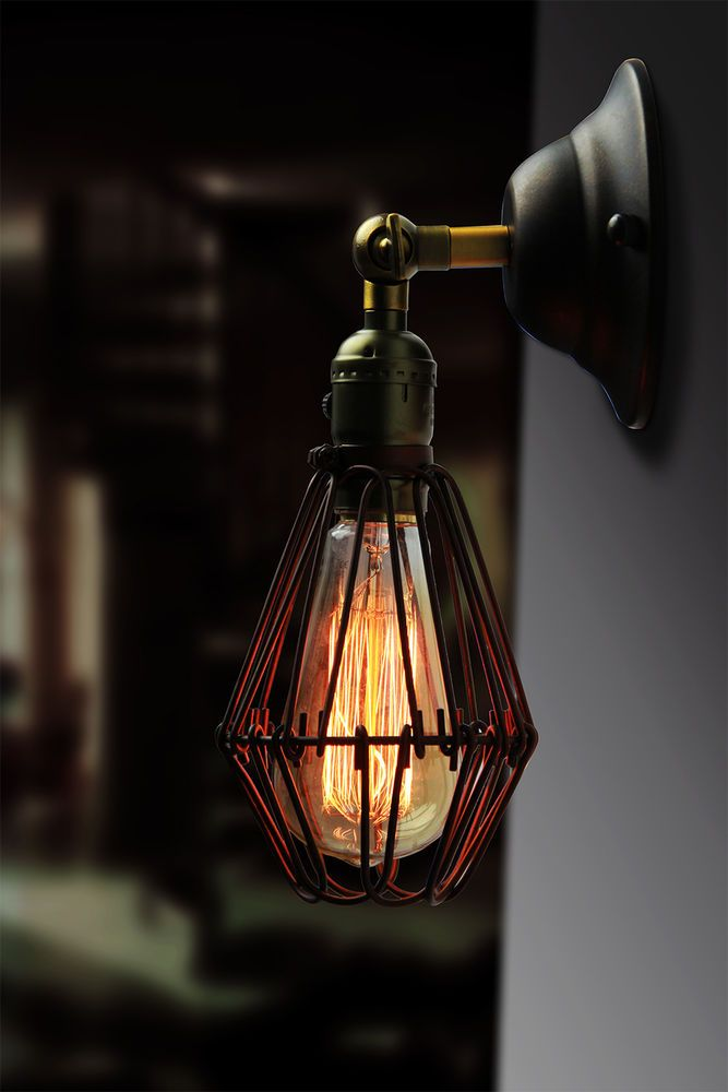 RUSTIC SCONCE LAMP VINTAGE INDUSTRIAL CAFE GLASS CHROME BRASS FINISH WALL LIGHT