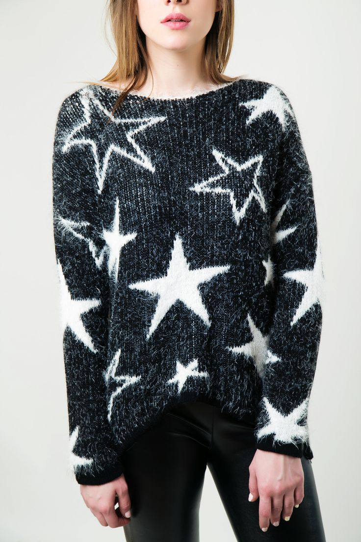 Knitted blouse with round open neck. Fluffy super soft touch. Asymmetric hem and long sleeves. http://www.modaboom.com/clothes/knitwear-tops/product-308/