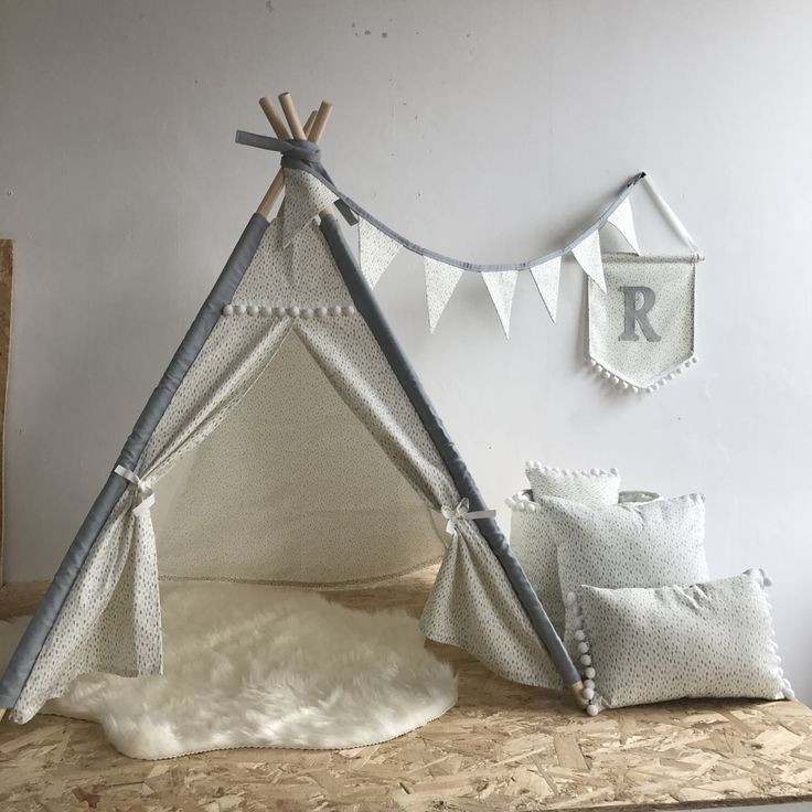 Mini size Handmade childrens Teepee, grey neutral - perfect for babies - a perfect gift by VioletLuxHandmade on Etsy https://www.etsy.com/uk/listing/495819788/mini-size-handmade-childrens-teepee-grey