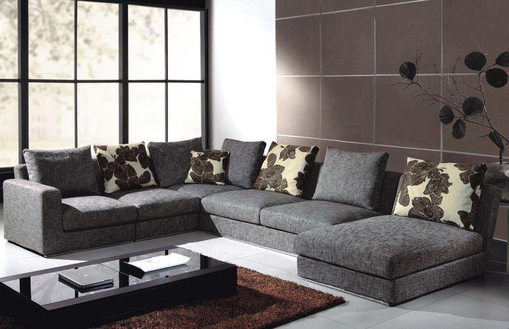 Fabric Sectional Sofas, Grey Modern Sofa Set