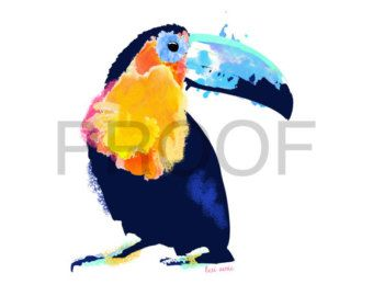 TOUCAN ART PRINT keel-billed toucan rainbow toucan by SignedSweet
