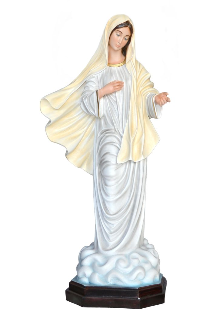 Our Lady of Medjugorje statue, height 130 cm. in fiberglass, hand painted with acrylic colors and trim with oil colors, available with glass eyes. Made in Italy