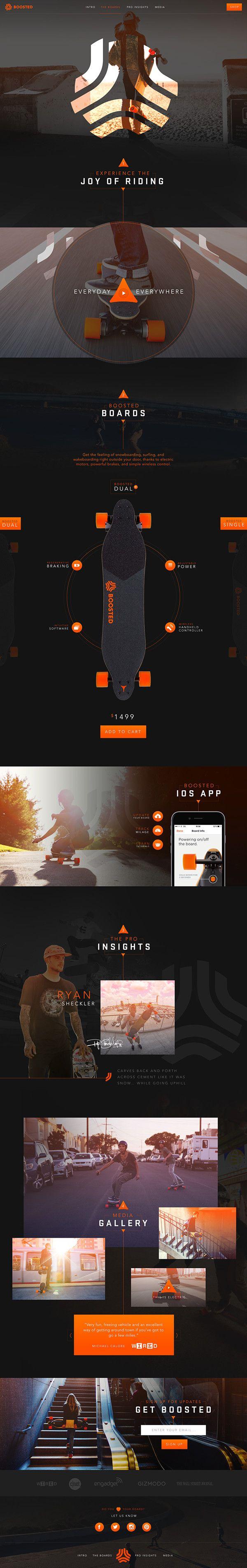 Boosted skateboard website concept