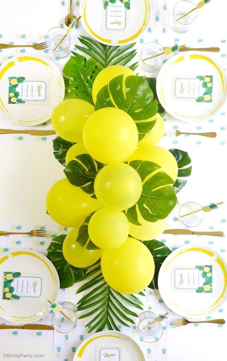 Pineapple birthday party ideas with lots of DIY decorations, party printables, sweet party food and favors!   #pineappleparty #pineapplebirthday #tropicalparty #pineapplepartyideas #pineapplebirthdayparty
