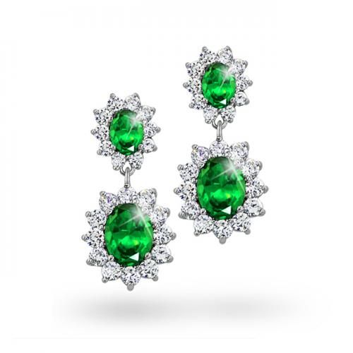 Green Emerald Color CZ Flower Crown Oval Drop Earrings