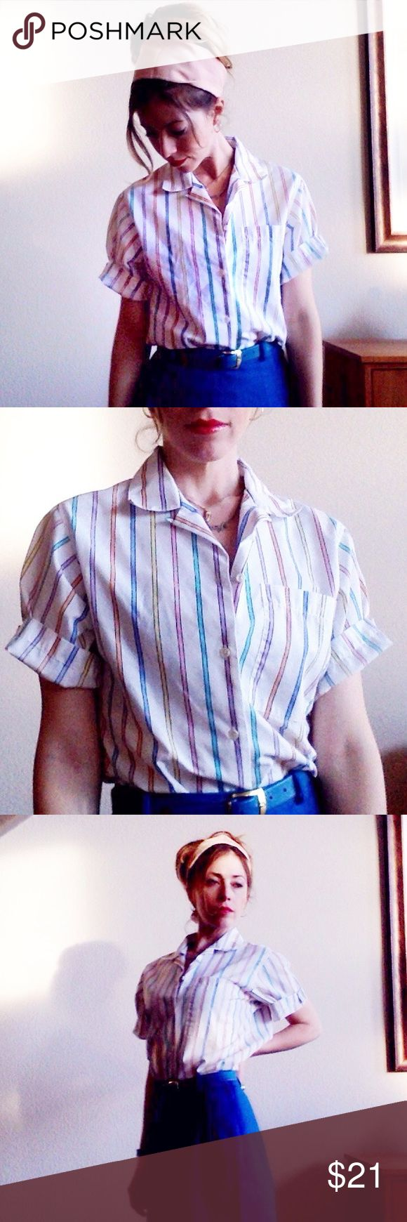 VTG80s Retro Pastel Rainbow Stripe Button Down True vintage! In darn near perfect condition. 80s/90s pastel rainbow ladies blouse. Classic, yet a real standout piece. Looks adorable tucked into high-waisted skirts/jeans. Can also be knotted up front for that classic 90's look! Tag says size 8 - would best fit a ladies M. I'm an XS, and it's definitely a bit big on me  Offers welcome!  Retro Anthropologie J Crew Banana Dior Retro Vintage Tops Button Down Shirts