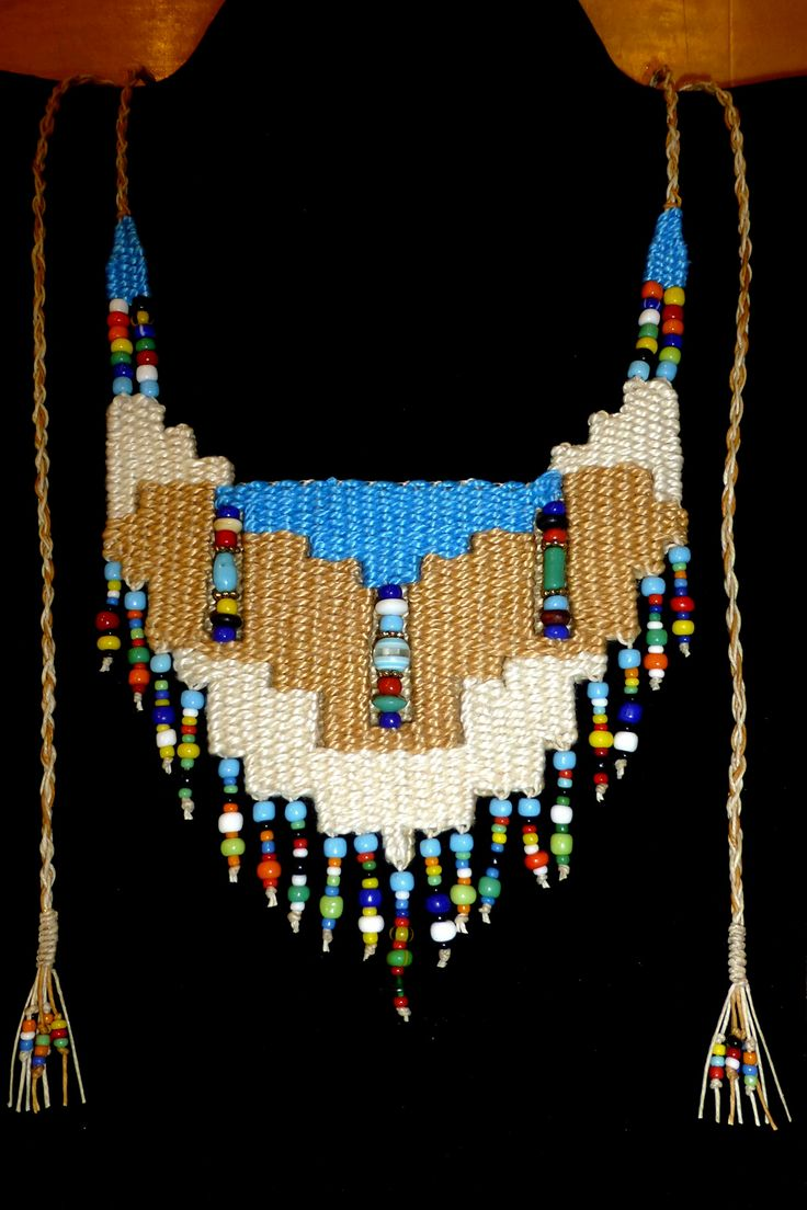 """Southwest II"" - 2014 - Adjustable length, double weaving, beads woven in, modeled after ""Turquoise.""  SOLD. Woven by Terri Scache Harris, theravenscache.shutterfly.com   Hand woven, handwoven, weaving, weave, needleweaving, pin weaving, woven necklace, fashion necklace, wearable art, , fiber art."