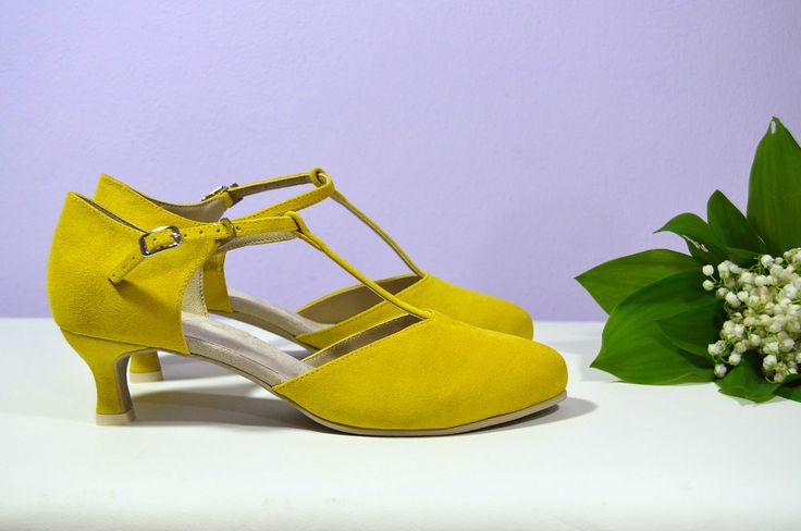 Žluté svatební lodičky, žlté svadobné topánky, lodičky,  Yelow bridal shoes, Pumps T-styl, model Tina Exkluzívní pravá kůže velur, real leather velur . Navrhni a uprav si topánky podľa seba.