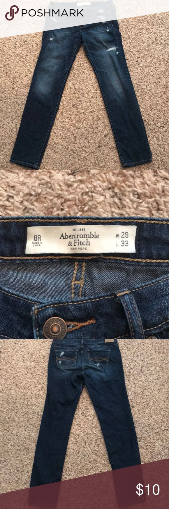 Abercrombie jeans Slightly ripped Abercrombie and Fitch jeans - size 8R Abercrombie & Fitch Jeans Skinny